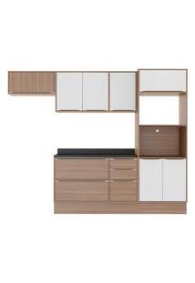 Cozinha Compacta 7 Peças 8 Portas Calábria Nogueira E Branco Multimóveis