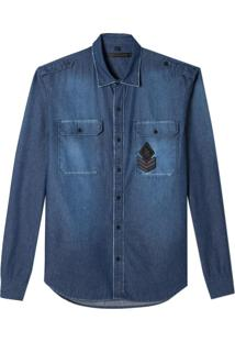 Camisa John John Laurence Jeans Azul Masculina (Jeans Medio, Pp)