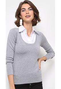 Malha Facinelli Camisa Embutida Feminina - Feminino-Cinza