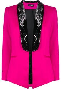 Styland Blazer Com Paetês - Rosa