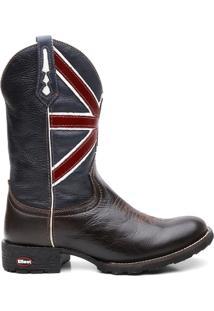 Bota Texana Com Cafe Escuro Bandeira Da Inglaterra - Masculino