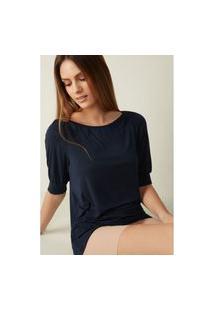 Blusa Com Decote Canoa Em Modal E Seda - Azul P Intimissimi