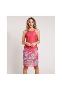 Vestido Feminino Curto Estampado Floral Halter Neck Alça Fina Vermelho