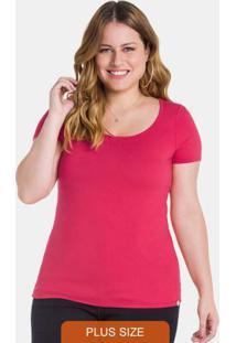 Blusa Com Mangas Gola Redonda Rosa