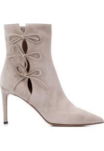 L'Autre Chose Ankle Boot Com Laço - Cinza