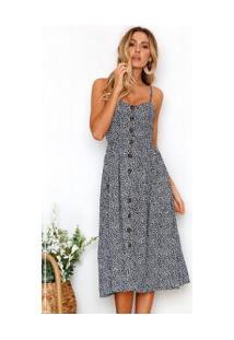 Vestido Martinelli Feminino - Azul Com Flores Brancas