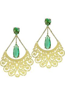 Brinco Kumbayá Longo Arabesco 2 Gotas Semijoia Banho De Ouro 18K Cristal Verde Esmeralda