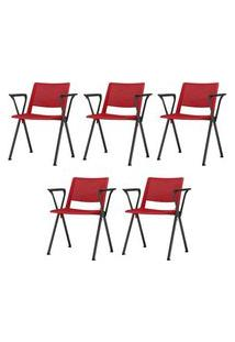 Kit 5 Cadeiras Up Com Bracos Assento Vermelho Base Fixa Preta - 57840 Vermelho