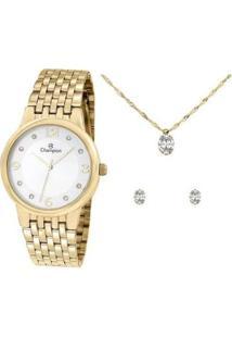 Kit Relógio Feminino Champion Analógico Elegance - Cn24146W Com Acessórios - Feminino-Dourado