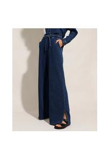 Calça Wide Pantalona Jeans De Moletom Com Fendas Cintura Super Alta Azul Escuro