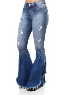 Calça Jeans Flare Feminina Mokkai Azul
