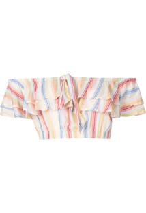 Suboo Blusa Playhouse Cropped Com Babados - Estampado