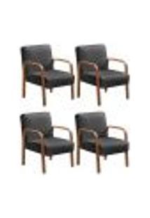 Kit 4 Cadeiras Anita Poltrona Decorativa Braço Madeira Para Escritório, Recepção, Sala De Estar Vários Ambientes - Suede Cinza Grafite