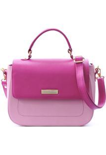 Bolsa Maria Verônica Quadrada Com Tampa Couro Rosa/Pink 5107