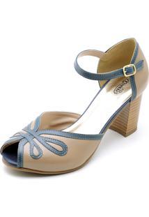 Sandália Miuzzi Retro Vintage Com Azul Marinho - Kanui