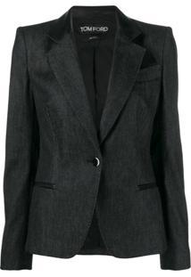 Tom Ford Leather Lapel Jacket - Preto