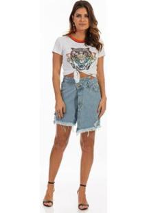 Blusa Dioxes T-Shirt Retilínea Feminina - Feminino-Mescla