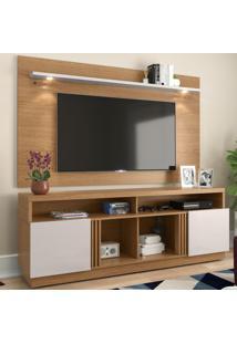 Rack Com Painel Para Tv Até 65 Polegadas Itapua 2 Portas Natura Real/Off White - Colibri Móveis