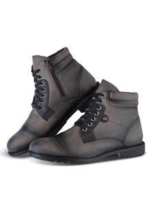 Bota Sapato Flex Worker Com Zíper Masculino - Masculino-Cinza