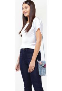 Bolsa Transversal Com Flores E Franja Azul Jeans