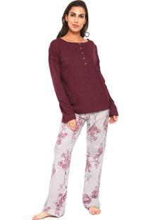 Pijama Censato Floral Bordô/Rosa