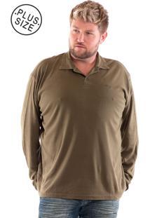 Camisa Konciny Polo Plus Size Malha Suedine Musgo Escuro