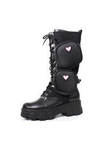 Bota Coturno Damannu Shoes Loved Cano Alto Com Pochete Napa Preto