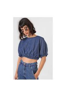 Blusa Cropped Jeans Colcci Ampla Azul