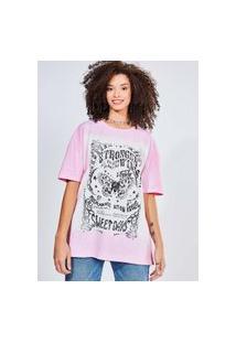 Camiseta Oversized Estampa Borboleta