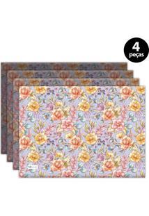 Jogo Americano Mdecore Floral 40X28 Cm Roxo 4Pçs