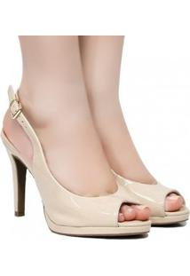 Scarpins Zariff Shoes Chanel Fivela Feminino - Feminino-Nude