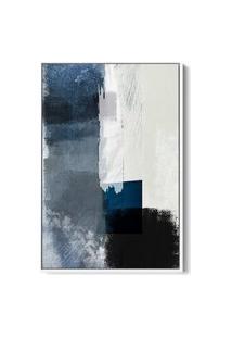 Quadro 90X60Cm Abstrato Textura Geruzak Moldura Flutuante Filete Branca Oppen House