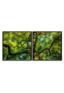 Quadro 65X130Cm Floresta Galho Arvore Folhas Verde Moldura Preta - Decoraçáo Sala De Estar