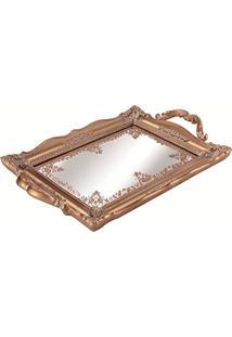 Bandeja Em Poliresina Com Espelho, Moas, Cobre, 3.5 X 22.5 X 35 Cm