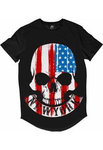 Camiseta Longline Bsc Caveira New York Eua Sublimada Preto