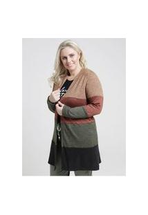 Cardigan Alongado Color Block Plus Size Feminino Verde/Preto