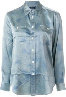 Polo Ralph Lauren Camisa De Seda Com Barra Curvada - Azul
