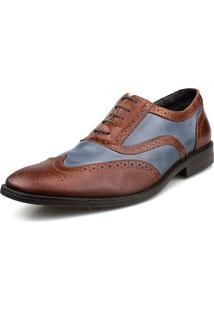 Sapato Social Oxford Brogue Azul Whisky