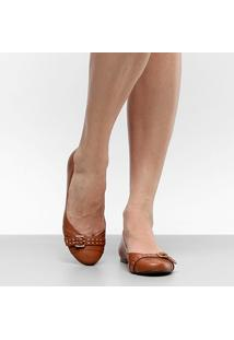 Sapatilha Couro Shoestock Tira Fivela Pespontos Feminina - Feminino