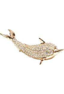 Porta Jóias Golfinho Com Strass Prestige Zamac Dourado 13,5 X 10 Cm