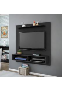 Painel Para Tv Até 47 Pol Móveis Bechara Gama 2 Nichos Preto Fosco