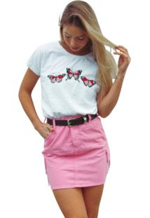 Blusa In Love T-Shirt Butterfly Branca