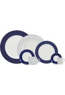 Aparelho De Jantar 42 Peças Maitê - Schmidt - Branco / Azul