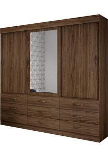 Guarda Roupa Casal Turim 3 Portas Com Espelho Ébano