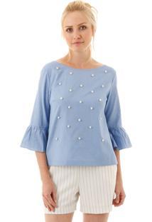 Blusa Aha Camisa Aharia Com Pérolas Azul