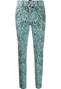 Just Cavalli Calça Jeans Skinny Com Estampa Pele De Cobra - Azul