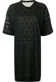 Fendi Vestido Com Logo Ff - Preto