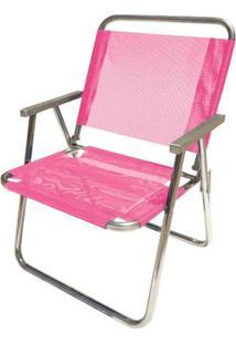Cadeira De Praia Botafogo Varanda El Alumínio Rosa