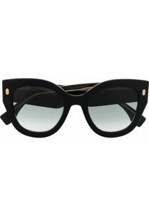 Fendi Eyewear Óculos De Sol Roma Oversized - Preto