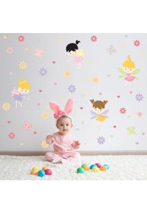 Adesivo De Parede Infantil Quartinhos Fadas Baby Colorido